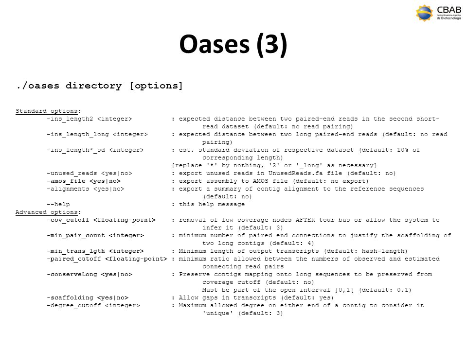 Oases (3) ./oases directory [options] Standard options: